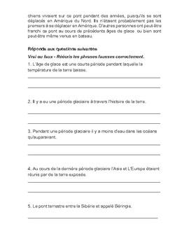 French Listening and Reading Exercise - La Beringie