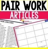 Listening and Speaking ESL Pair Work Articles