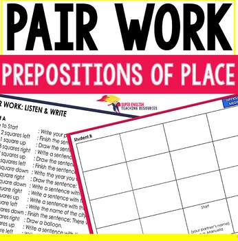 Listening and Speaking ESL Pair Work Prepositions of Place / Directions