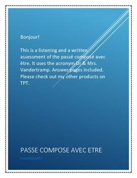 Listening and Writing Quiz for Passe Compose avec Etre