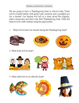 Listening comprehension pre-K & K - thanksgiving, halloween theem