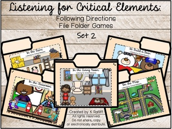 Listening for Critical Elements: Following Directions File Folder Games (Set 2)
