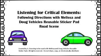 Listening for Critical Elements: Melissa and Doug Vehicles Reusable Stickers