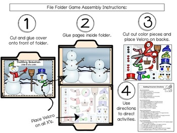 Listening for Critical Elements: Winter Following Directions File Folders