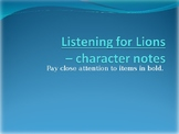 Listening for Lions Characterization PPT