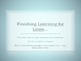 Listening for Lions Conflict Notes