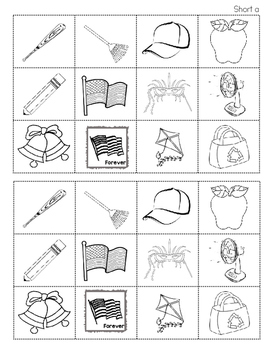 Listening for Short Vowel Sounds Cut and Paste Activity