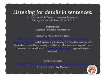 Listening for details in sentences