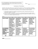 Listening to a Presentation Assessment Rubric - 6th Grade Standards