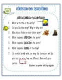 Listening to reading - response sheet