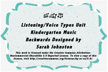 Listening/Voice Types Unit- Kindergarten