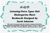 Listening/Voice Types Unit- Kindergarten