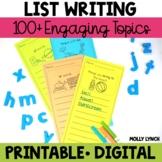 List Writing | Writing Lists | Writer's Workshop Writing
