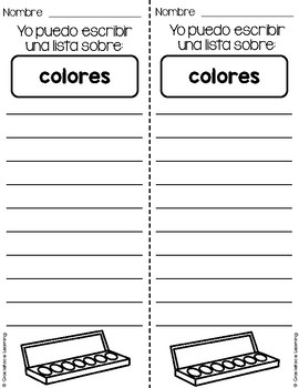 ¡Listos para listas!  50 List Writing Prompts for Primary Bilingual Students
