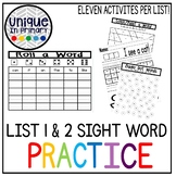 Lists 1 & 2 Sight Word Sheets (First 50 Fountas and Pinnell words) Bundle