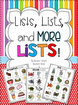 Lists, Lists, and More Lists {Writing Center with 41 Different Themes}