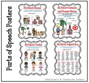 Lists of Parts of Speech Posters- Bundle of All Posters Together