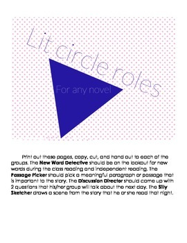 Lit Circle Roles for Small Group Chapter Book Studies