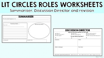 Lit Circles Roles Worksheets Discussion Director Summariser And