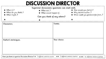 Lit Circles Roles Worksheets - Discussion Director, Summariser and Word Wizard