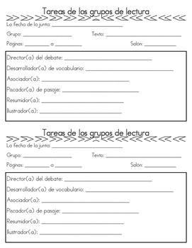 Lit Circles Spanish Forms/Grupos de lectura en espanol