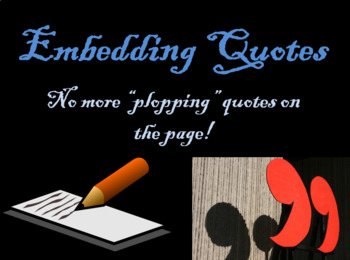 Lit Monster's Embedding Quotes PowerPoint with Guided Note