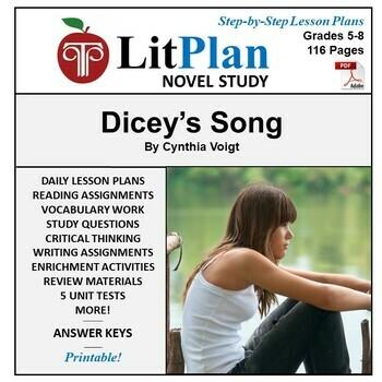 LitPlan Teacher Guide: Dicey's Song - Lesson Plans, Questi