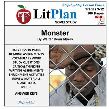 LitPlan Teacher Guide: Monster - Lesson Plans, Questions, Tests