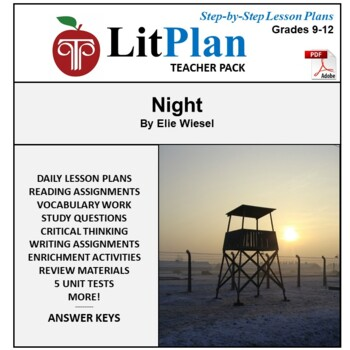 LitPlan Teacher Guide: Night (Wiesel) - Lesson Plans, Questions, Tests
