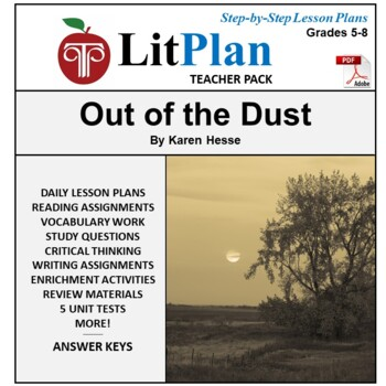LitPlan Teacher Guide: Out of the Dust - Lesson Plans, Questions, Tests