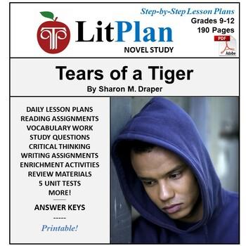 LitPlan Teacher Guide: Tears of a Tiger - Lesson Plans, Questions, Tests