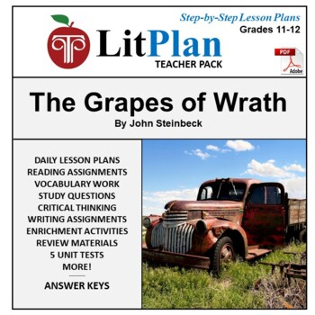 LitPlan Teacher Guide: The Grapes of Wrath - Lesson Plans, Questions, Tests