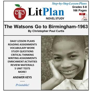 LitPlan Teacher Guide: The Watsons Go To Birmingham--1963 - Lesson Plans, Tests