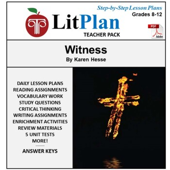 LitPlan Teacher Guide: Witness (Hesse) - Lesson Plans, Questions, Tests