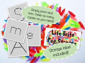 Lite Brite Papers with Label FULL SET