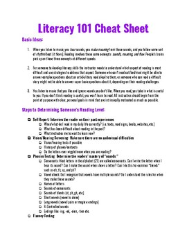Literacy 101 for Assistants/Volunteers