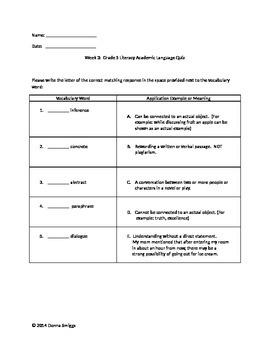 Literacy Academic Language Common Core Based