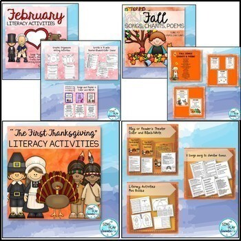 Songs, Poems, Reader's Theater, Writing, Literacy Through the Year Bundle