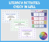 Literacy Activities Check In Wall