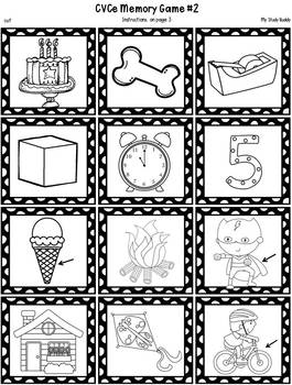 Literacy Activities:  Memory Games (CVC, CVCe, Words With Blends & Digraphs)
