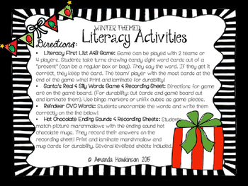 Literacy Activities: Winter Themed