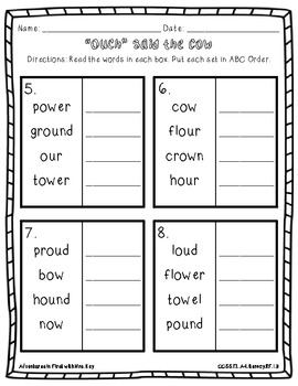 Literacy Activities using /ow/ and /ou/--Ouch said the Cow