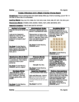 Literacy Activity Choice Board Based on Grade 2's Wonders Reading Program Unit 1