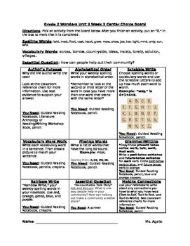 Literacy Activity Choice Board Based on Grade 2's Wonders Reading Program Unit 3