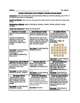 Literacy Activity Choice Board Based on Grade 2's Wonders Reading Program Unit 5