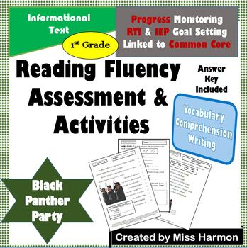 Literacy Activity Sheets for 1st Grade, Black Panther Party
