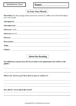 Literacy Activity Sheets for 5th Grade, Neil deGrasse Tyson