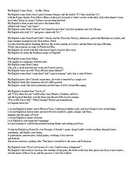 Literacy Autobiography Poem