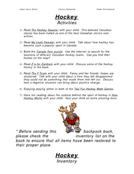 Literacy Backpack - Hockey