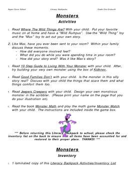 Literacy Backpack -Monsters